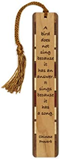 product image for Chinese Proverb - Bird Sings - Engraved Wooden Bookmark with Tassel