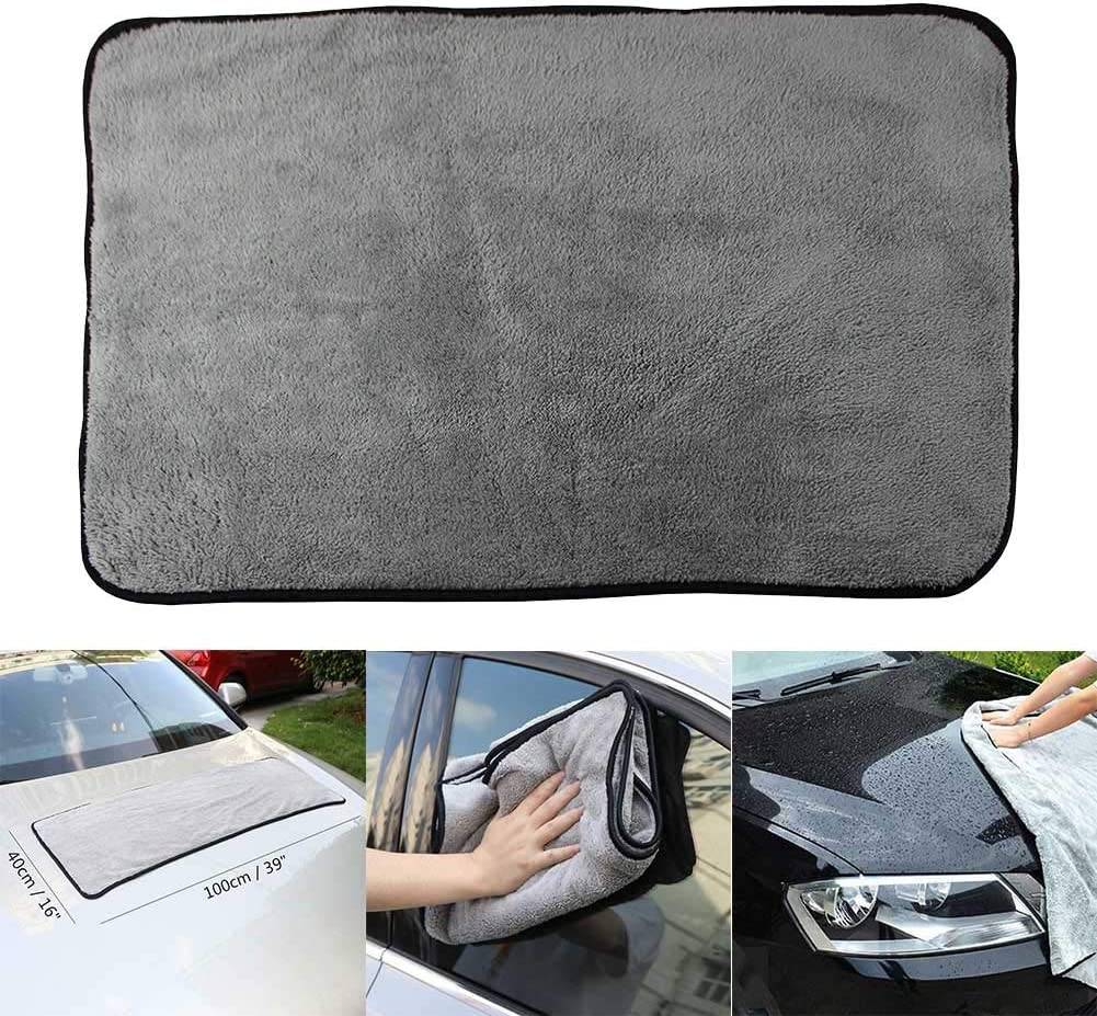 Ferrell Plush Drying Towel Absorbent Car Cleaning Cloths Soft Portable Washing Auto Detailing Car Care Towel Microfiber Dual Layer Ultra-Thick Towels