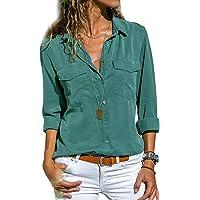 Tunique Femme Grande Taille, Chemisier Chic Femme Blouse Fluide Manches Longues Col Rabattu Tee Shirt Blouses et Chemises Basique Casual T Shirt Haut Top