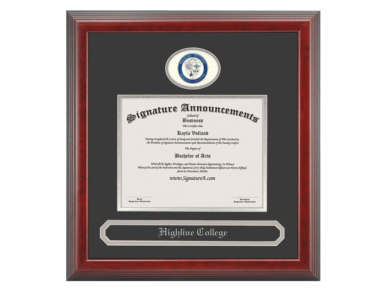 Signature Announcements Highline-College Undergraduate Sculpted Foil Seal /& Name Graduation Diploma Frame 16 x 16 Cherry
