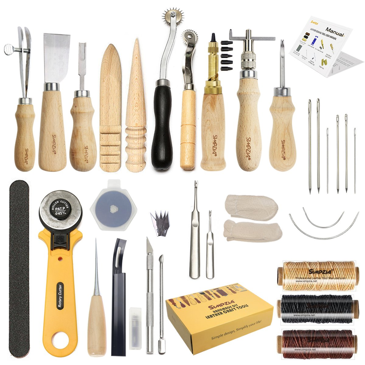 6a8296ca1 Leather Craft Tool SIMPZIA 25 Pcs Leather Sewing Tools Kit Leather DIY Hand  Stitching Tools with Groover Awl Edge Creaser for Sewing Leather