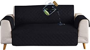 Ease Sofa Couch Cover 100% Waterproof Skidproof Sofa Slipcover Whole Piece Fabric Leather Seat Furniture Protector for Pet Children Kids Cat Dog (Loveseat, Black/Beige)