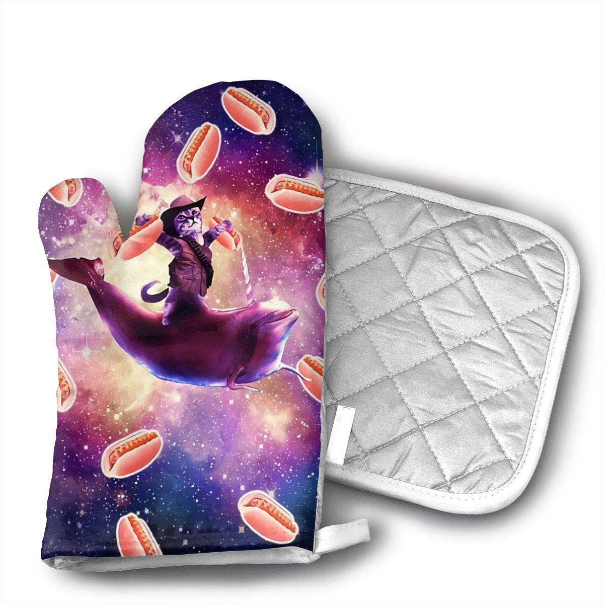 KEIOO Cowboy Space Cat On Dolphin Unicorn with Hot Dog Oven Mitts and Potholders Heat Resistant Set of 2 Kitchen Set Non-Slip Grip Oven Gloves BBQ Cooking Baking Grilling