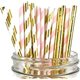 Just Artifacts - Assorted Decorative Paper Straws 100pcs - Light Pink/Metallic Gold Striped w Solid Metallic Gold - Decorative Paper Straws for Birthday Parties,Baby Showers, and Life Celebrations!