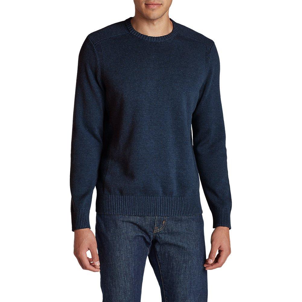 Eddie Bauer Men's Signature Cotton Crew Sweater, Htr Navy Tall XL