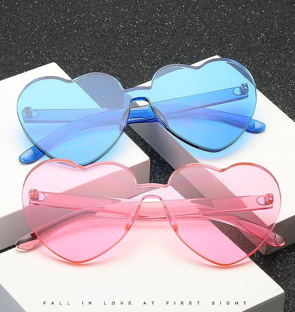 60a3691fc0 Amazon.com  Heart Shape Rimless Sunglasses One Piece Transparent Glasses  Fashion Candy Shades  Clothing