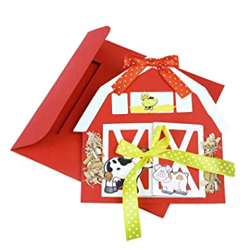 Crack Of Dawn Crafts Farm Barn Baby Boy Birthday 1st Year Invitations Animal