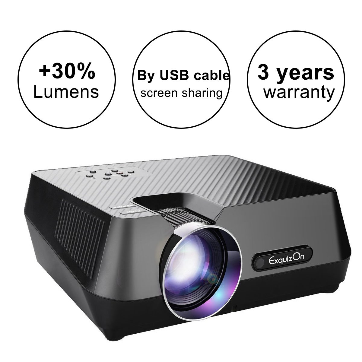 ExquizOn (2018 New Updated Mini Video Projector, 30% Lumens Brighter, New Smart Phone Mirror Function by Lighting or Micro USB Cable, 1800 Lumens Home Theater HDMI USB VGA AV TF (Gt-S9) by ExquizOn