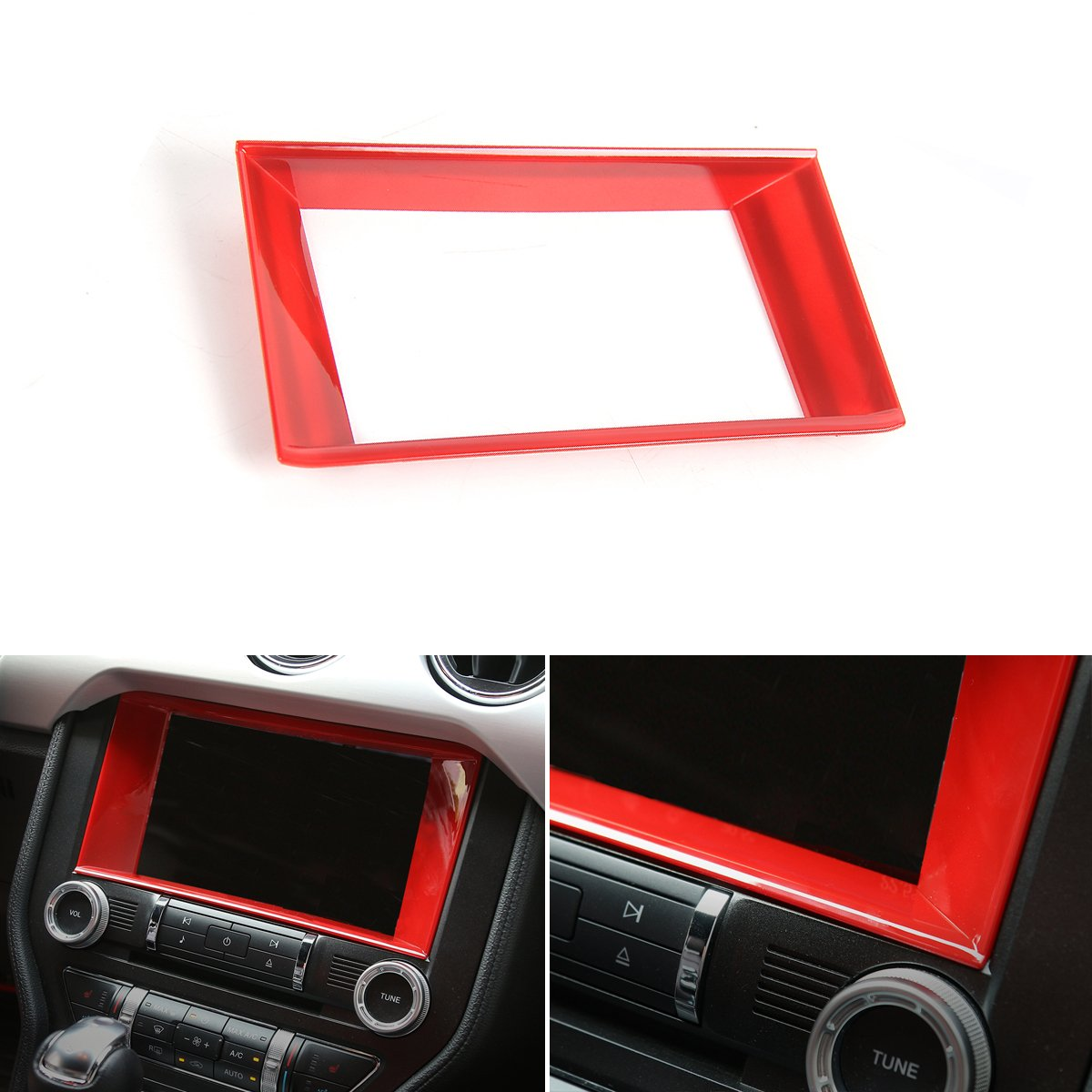 Red-1 CheroCar Headlight Switch Decorative Ring for Ford F150//Mustang 2015+