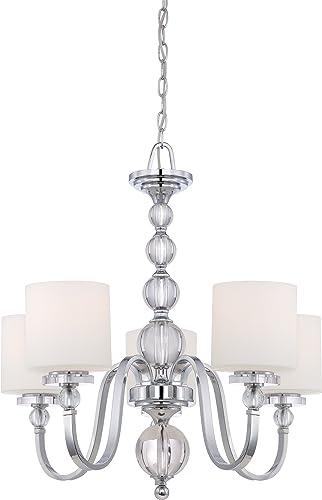 Quoizel DW5005C Downtown Glass Ball Chandelier, 5-Light, 500 Watts, Polished Chrome 26 H x 27 W
