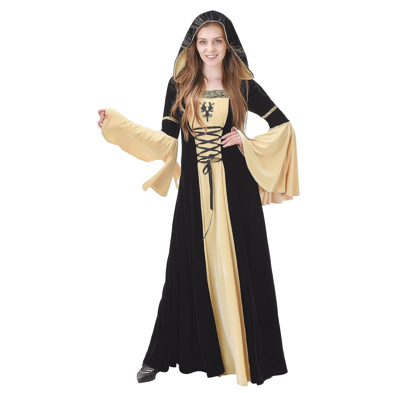 2921da4cd8 Women s Medieval Renaissance Panne Ice Velvet Black   Tan Hooded Costume  Dress - DeluxeAdultCostumes.com