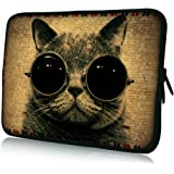 """ToLuLu® Cat Wearing Sunglasses 12.5"""" 13"""" 13.3"""" inch Notebook Laptop Case Sleeve Carrying bag for Apple Macbook pro 13 Air 13/ Samsung 900X3 530 535U3/Dell XPS 13 Vostro 3360 Latitude E6230/ ASUS UX32 UX31 U36 X35 /SONY SD4 13/ ACER 13/ThinkPad X1 L330 E330"""