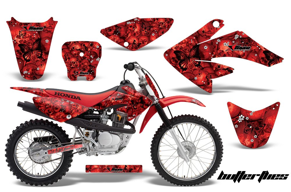 Honda crf70 2004 – 2015 MXダートバイクグラフィックキットステッカーデカールCRF 70 with Number Plates Skulls and Butterfliesブラックレッド   B07773673X