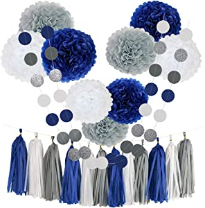 Navy Blue Grey Party Decorations for Adult, Graduation, Bachelorette, Wedding, Neutral Baby Shower, Birthday Celebrate - Tissue Paper Flowers Pom Poms, Tassel, Circle Garland, Crafts Supplies Set kit