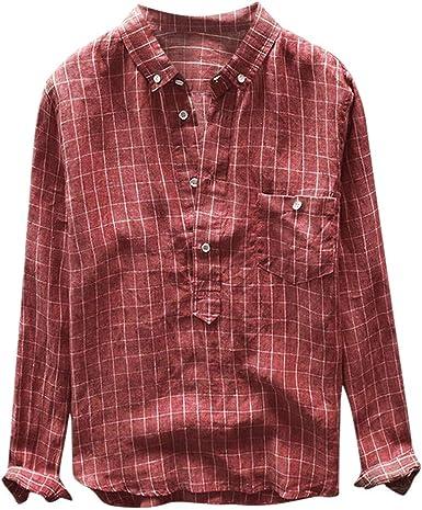 Tefamore - Camisa de Manga Larga con Cuello para Hombre Rojo XL: Amazon.es: Ropa y accesorios