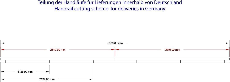 Edelstahl Handlauf V2A 42,4mm 240K geschliffen Wandhandlauf geteilt mit leicht gew/ölbter Endkappe 5400 mm