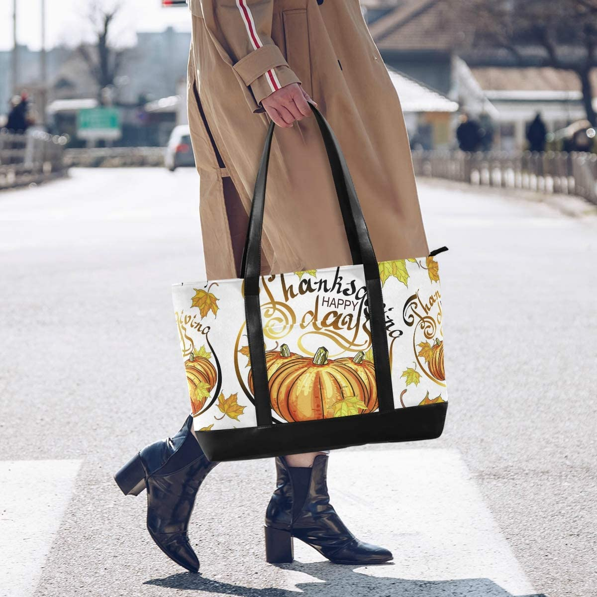 Happy Thanksgiving Day Canvas Shoulder Tote Bag Fit 15.6 Inch Computer Ladies Briefcase Thanksgiving Large Woman Laptop Tote Bag