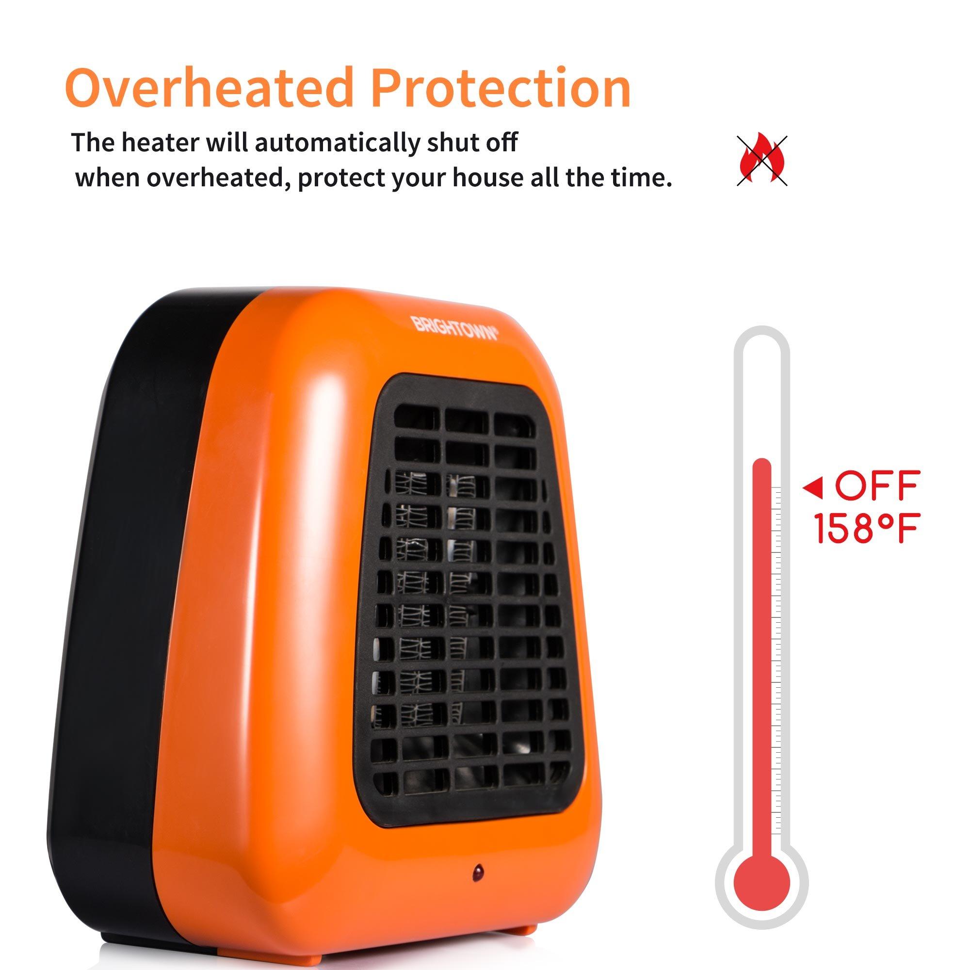 Personal Ceramic Portable-Mini Heater for Office Desktop Table Home Dorm, 400-Watt ETL Listed for Safe Use, Orange by Brightown (Image #5)