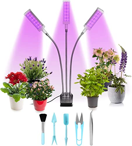 Grow Light, LED Growing Light for Indoor Plants, BOOVALUE 80W 80 LED Lamp Bulbs, Growing Light for Plants Growth with 3 9 12H Timer 10 Dimmable Level 3 Switch Red Blue Modes Full Spectrum