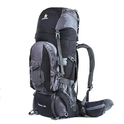 db96896260 HWJIANFENG Zaino da Montagna in Nylon 80L Antipioggia Zaini da Escursione  Traspirante Zaino da Alpinismo con Grande Capacità (nero): Amazon.it: Sport  e ...