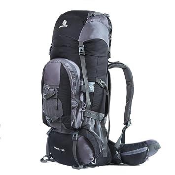 Hwjianfeng 80L Mochilas de Senderismo para Montaña Multifuncional Portatil Impermeable de Nilon de Acampada Excursion para Viajes Unisex Negro: Amazon.es: ...