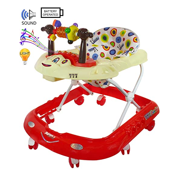 Panda Musical Baby Walker With Tray 6 Months - Red