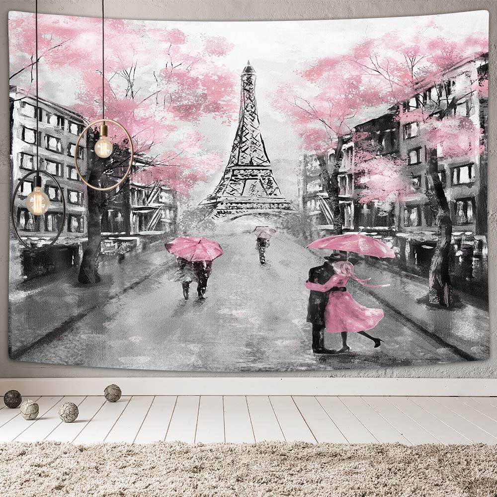 Oil Painting Paris Tapestry Wall Hanging, Pink and Black Tapestry Wall Decor, Eiffel Tower Pink Themed Wall Art Tapestries for Bedroom Living Room Home Wall, Woman Girl Room Decor, 60X40 Inches
