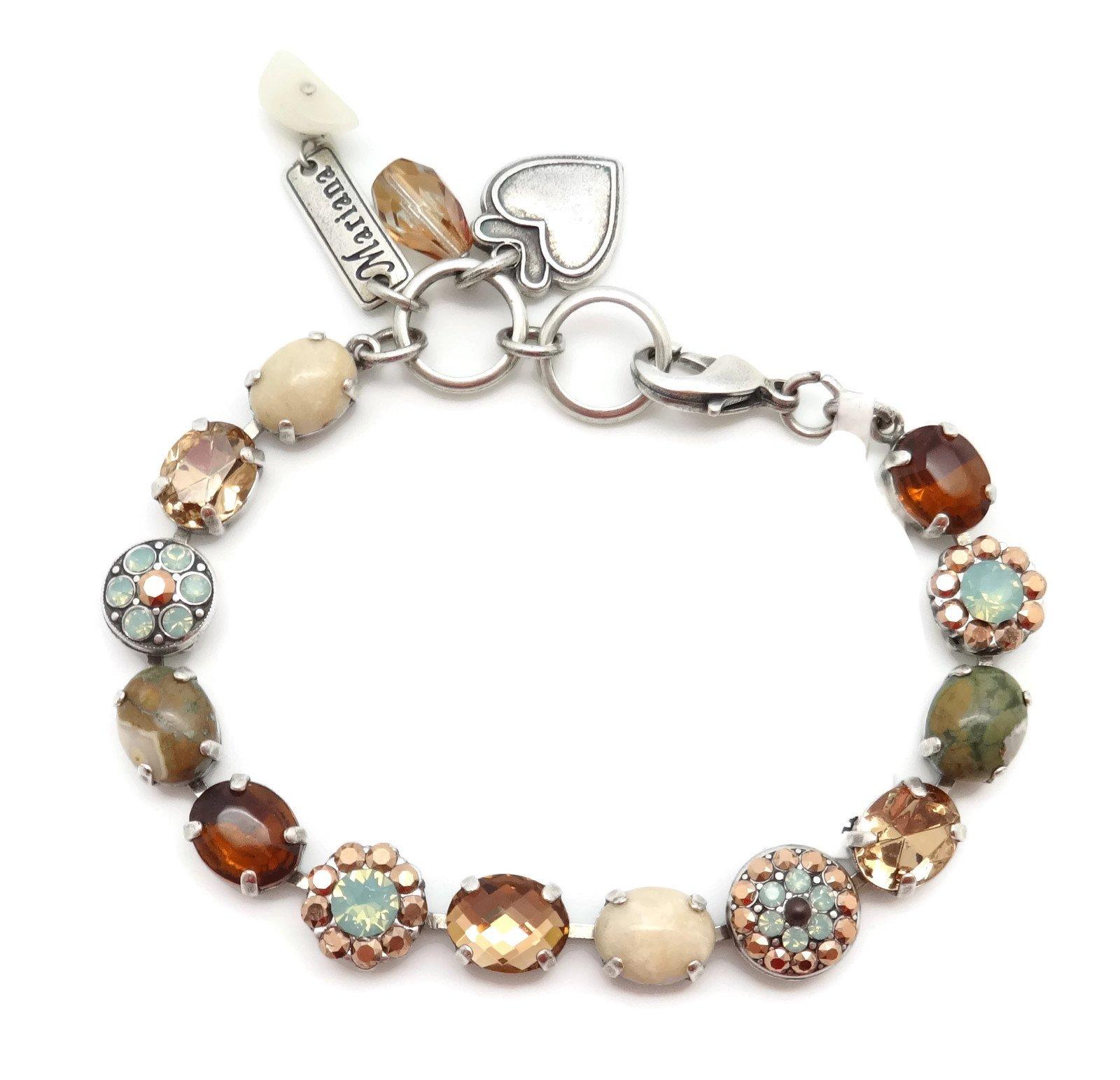 Mariana Swarovski Crystal Silver Plate Bracelet Oval Brown & Pacific Opalescent Mineral Stone Serai M1040