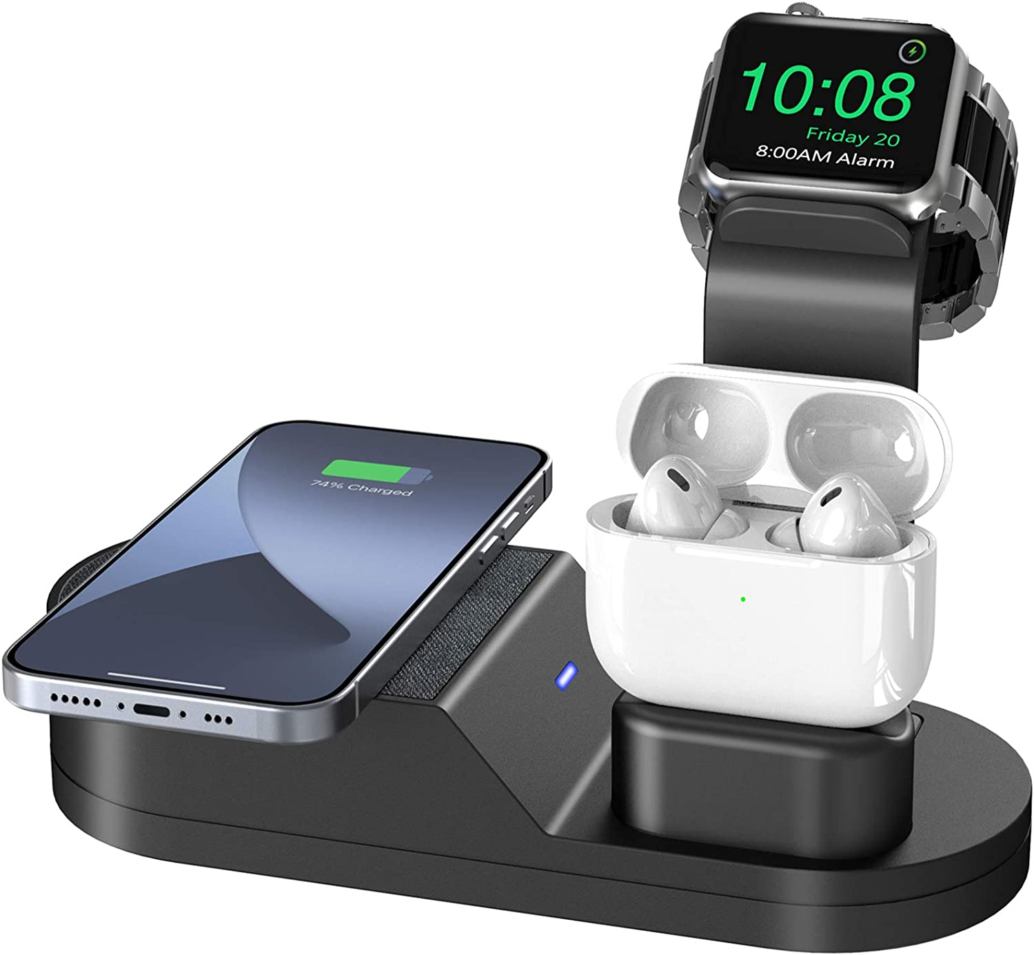 Deszon Wireless Charging Station Compatible with iWatch Stand iWatch Series SE 6 5 4 3 2 1, AirPods Pro 2 1 and Phone Series 12 SE 11 11 pro 11 Pro Max Xs X Max XR X 8 8P (No Adapter)