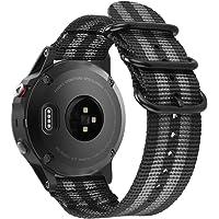 Fintie for Garmin Fenix 6 5 Band, Soft Woven Nylon Sport Strap Wristband for Garmin Fenix 6 Pro and Sapphire Edition/Fenix 5 / Forerunner 935 945 / Instinct Smart Watch, (Black/Grey)