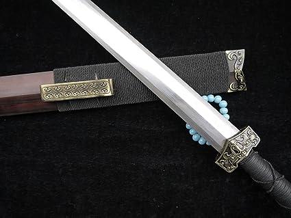 Hand Forge Chinese Short Sword Dagger Han Jian Red Pattern Steel Sharp Alloy