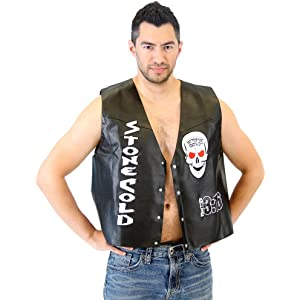 wwe stone cold steve austin 316 smoking skull costume leather vest