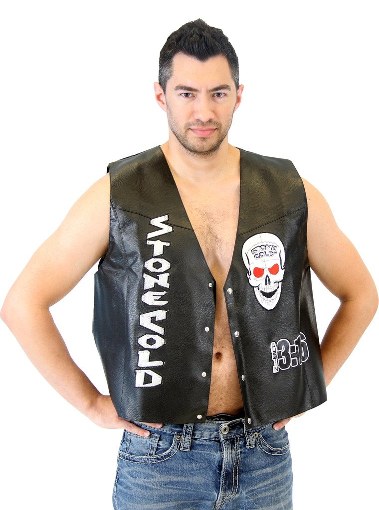 WWE Stone Cold Steve Austin 3:16 Smoking Skull Costume Leather Vest (Adult Medium)