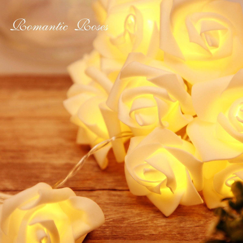 Amazon.com: Rose Flower Fairy Waterproof String Lights Waterproof ...