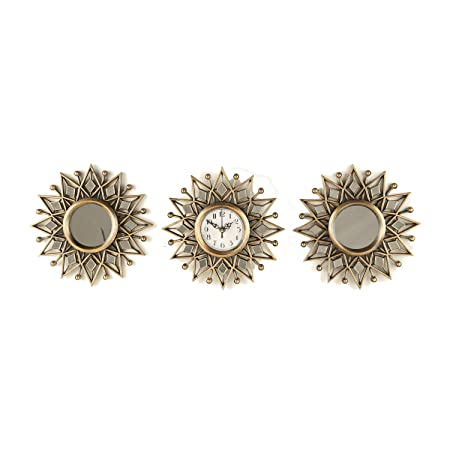 HomeTown Polyresin Clock Living Essence-Reflection S/3 Starburst Clock Set, 25X25 cm, Golden