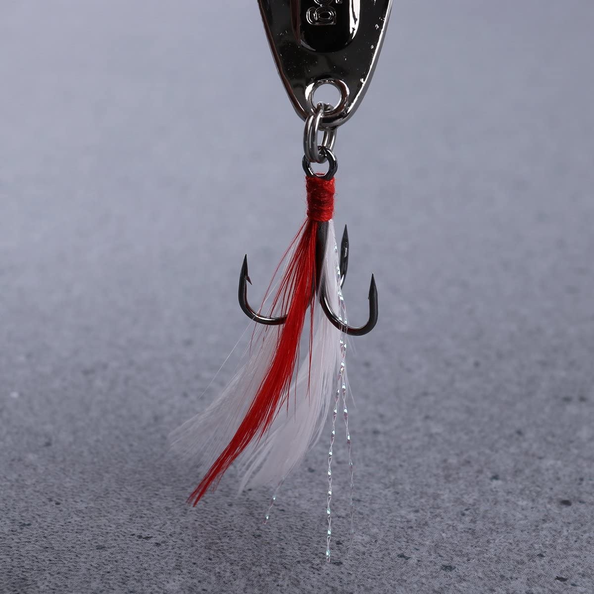 5pcs Spoons Hard Fishing Lures Treble Hooks Metal Fishing Lure Baits Fishing Accessories Silver Lure + Red Feather