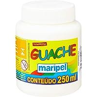 Tinta Guache, Maripel 7250, Branco, 250 ml, Pacote de 6