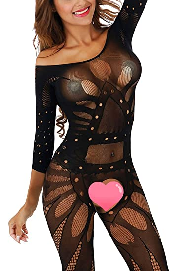 7f79380df Freemale Womens Sexy Black Fishnet Lingerie Bodysuits Crotchless  Bodystockings Babydoll (Black)
