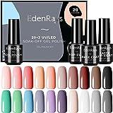 EdenRays 23pcs Gel Nail Polish Set, Soak Off UV/LED Gel Starter Kit, 20 Vibrant Colors, Base Coat, Glossy & Matte Top Coat