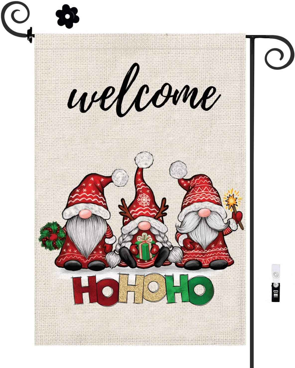 Gnome Garden Flag with Flag Stopper & Clip, Christmas Garden Flag 12x18 Double Sided, Welcome Yard Seasonal Flags for Thanksgiving Fall Winter Outside Holiday with HOHOHO Santa, Outdoor & House Decor