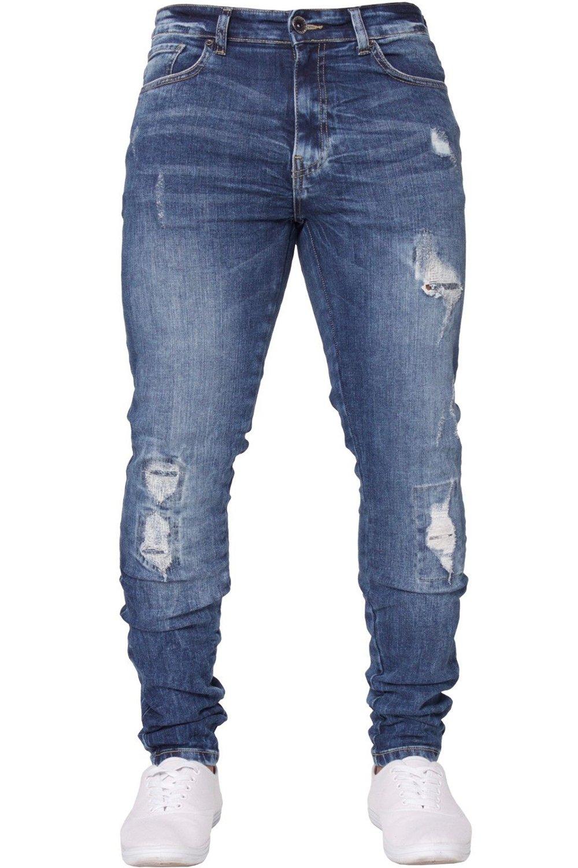Pxmoda Men's Fashion Ripped Pencil Jeans Slim Fit Zipper Denim Pants Casual Long Jeans (M, Blue)