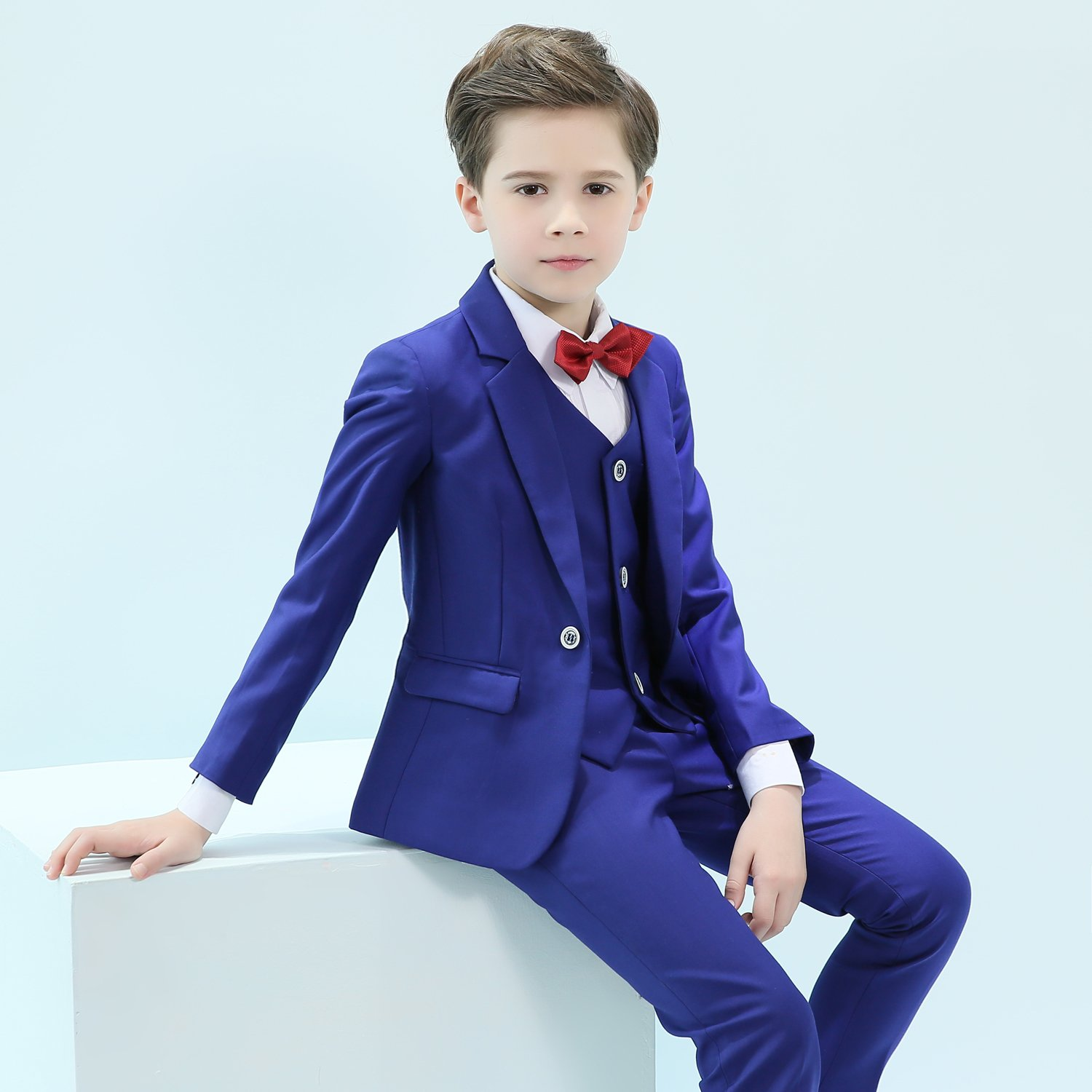 ac558dcc3 Iyan Boys One Button Blue Suits 5 Piece Slim Fit Suit for Boys CA ...