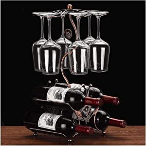 Cicodona Wine Rack and Wine Glass Holder-Hold 4 Wine Bottles and 6 Glasses-Perfect for Home Kitchen Decor & Kitchen Storage Rack