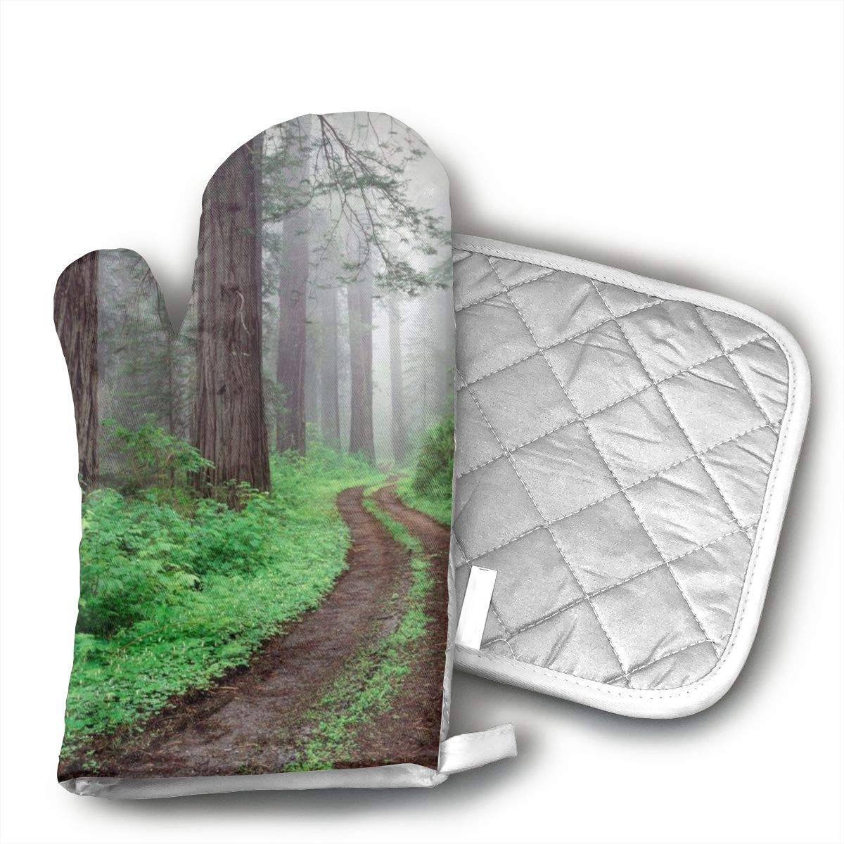 Redwood National Park California Oven Mitts and Pot Holders Baking Oven Gloves Hot Pads Set Heat Resistant for Finger Hand Wrist Protection