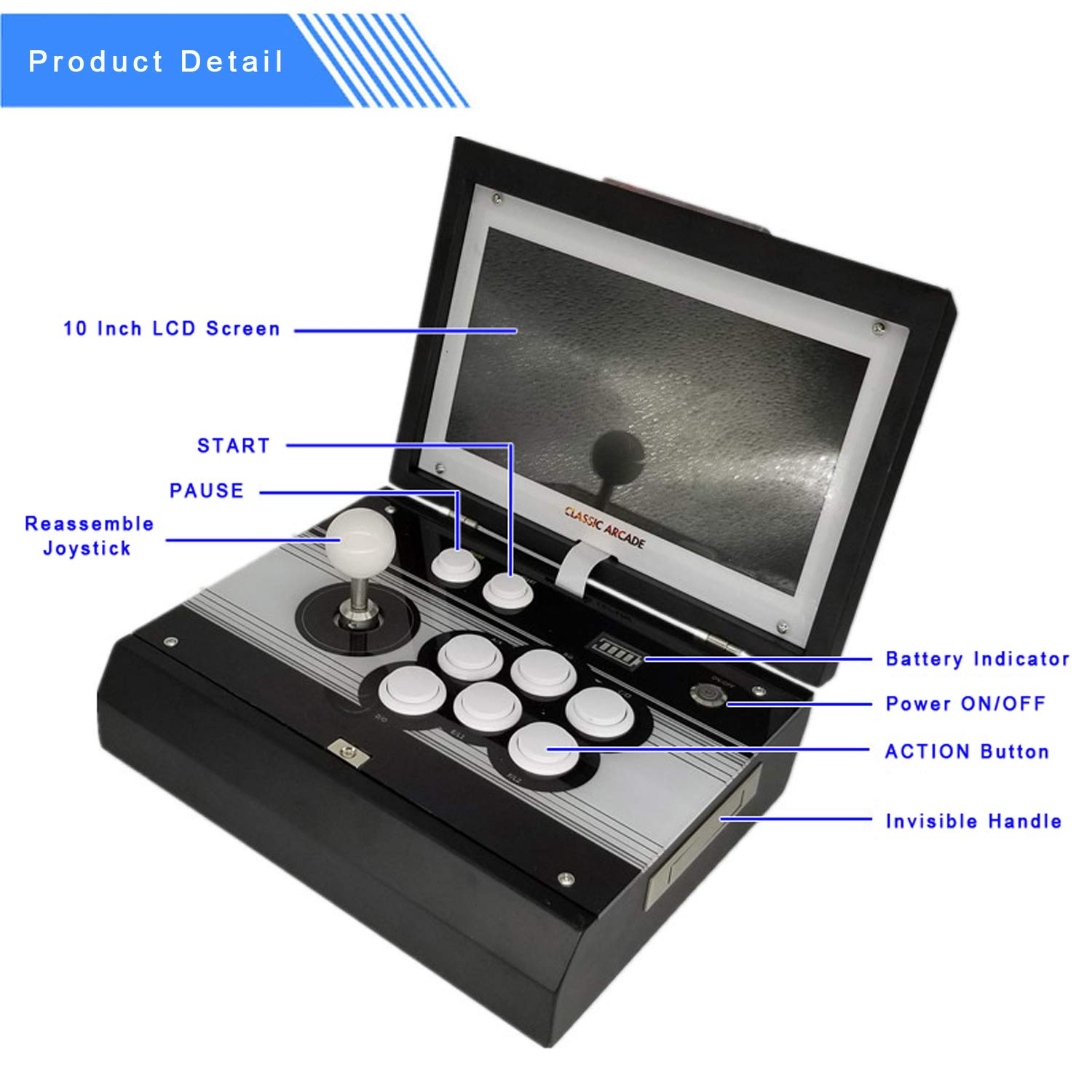 10.1 inch Portable Metal Casing Pandora 9 Arcade Video Game Console 1500 in 1 Retro Games Arcade 1280x720P HD Home Flip Single Player Game Machine by angkel (Image #3)