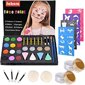 Fabur Maquillaje al Agua, 36 Piezas Set de Pintura Facial ...