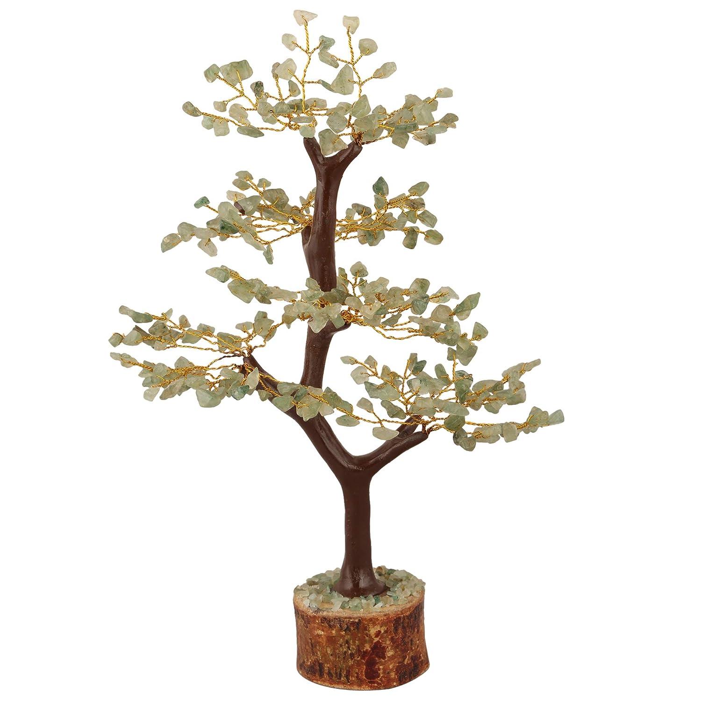 YATHABI Green Jade Gemstone Tree Feng Shui Bonsai for Crystal Energy Generator Chakra Balancing Reiki Healing EMF Protection Spiritual Meditation Luck Money Home Decor Size:- 10-12 Inch