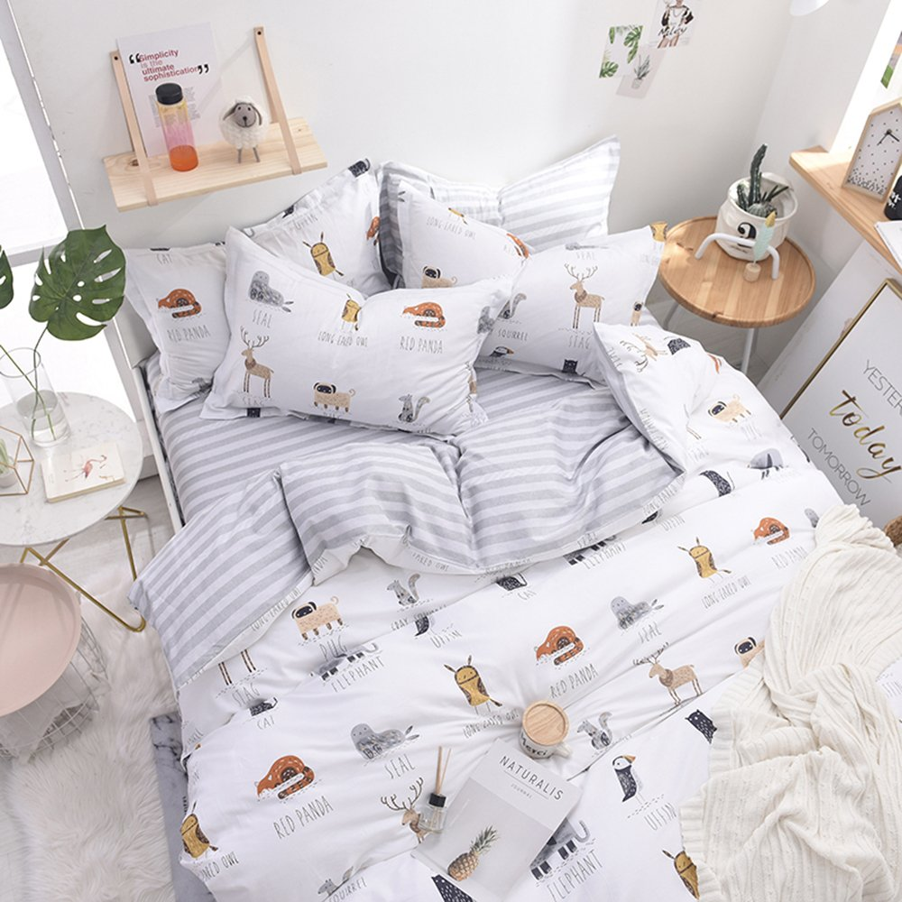 Enjoylife Cute Animal Reversible 3pcs Bedding Set Printing Cartoon Cute pet Duvet Cover Super Soft for Children/Adults 100% Cotton Comforter Cover Full Queen Size by EnjoyLife Inc (Image #4)