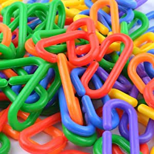 YUYUSO 100 Piece Plastic C-Clips Hooks Chain Links C-Links Rat Parrot Bird Toy Cage