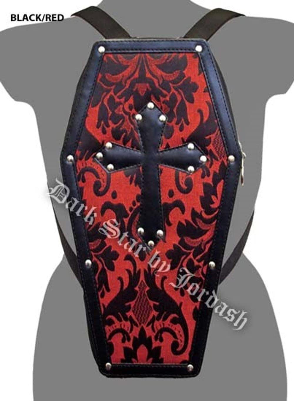 ff3a9e055aa5 Amazon.com: Dark Star Red Gothic PVC Coffin Cross Stud Backpack ...
